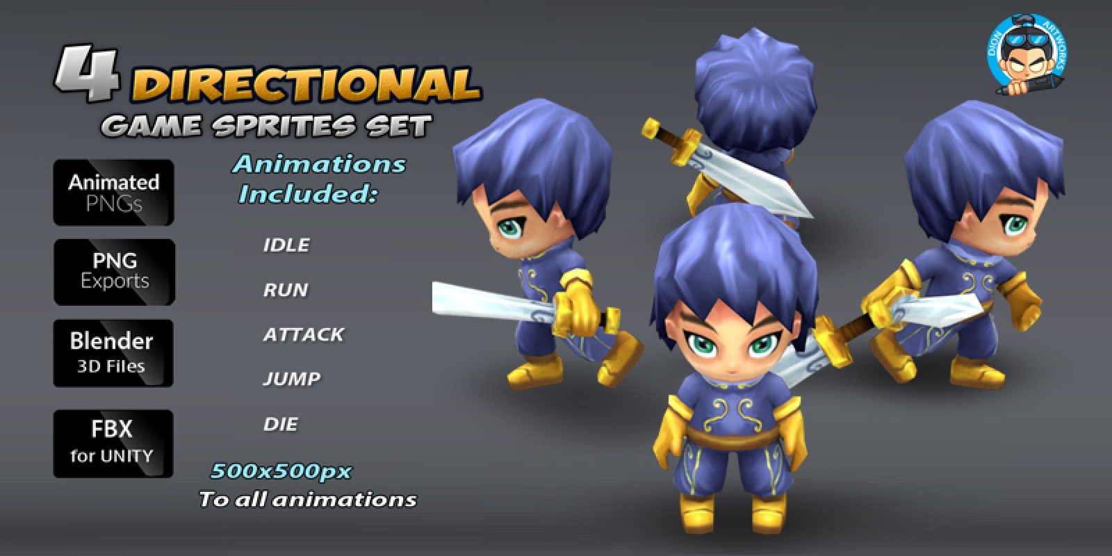4-Directional Game Character Sprites 1