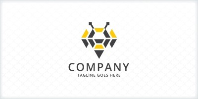 Abstract Bee Logo Template