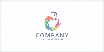 Colorful Shutter Bird Logo Template