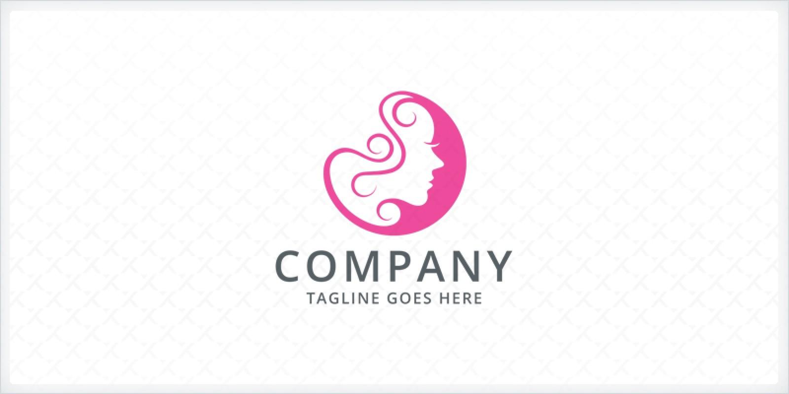 Curly Hair - Girl Logo Template