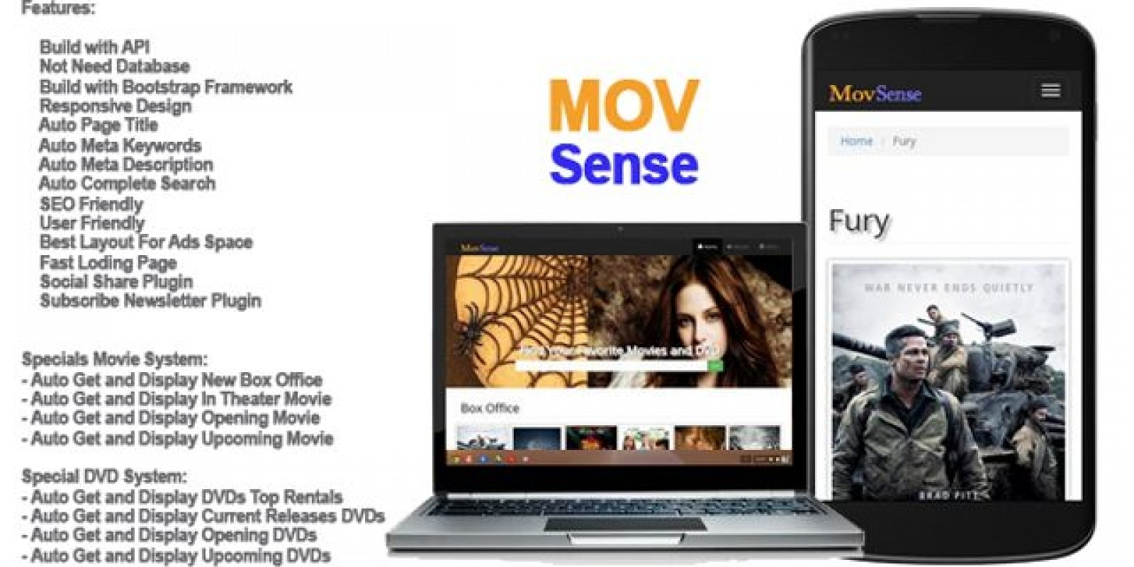MovSense Automatic Movies Search Engine PHP Script