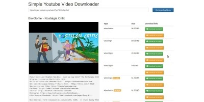 Simple Youtube Video Downloader Script