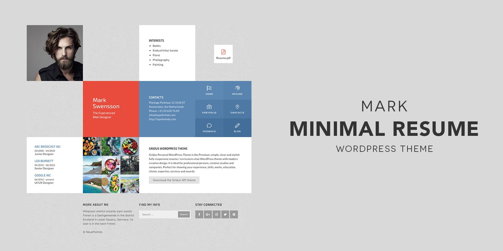 mark resume portfolio wordpress theme