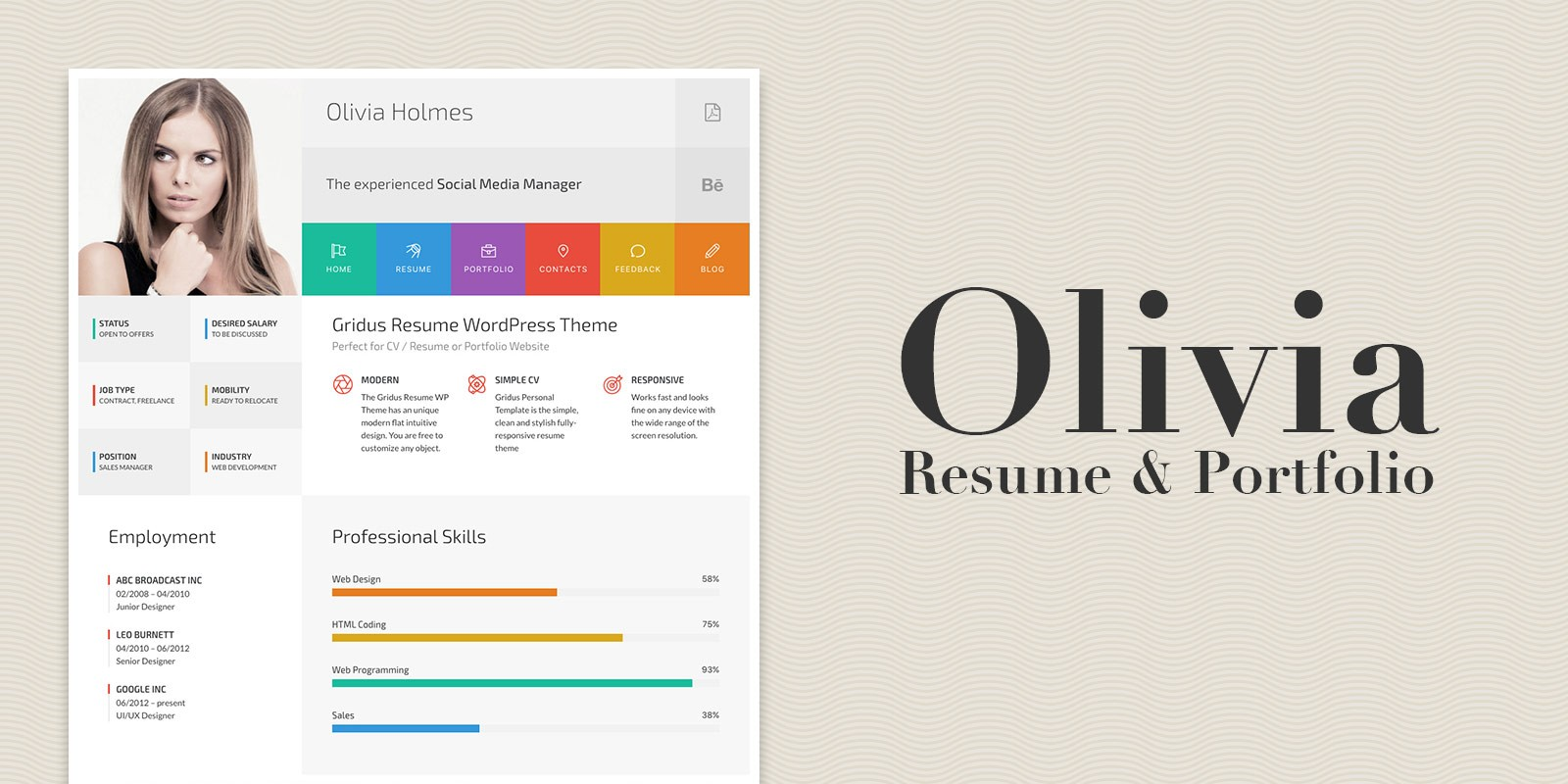 olivia resume and portfolio wordpress theme