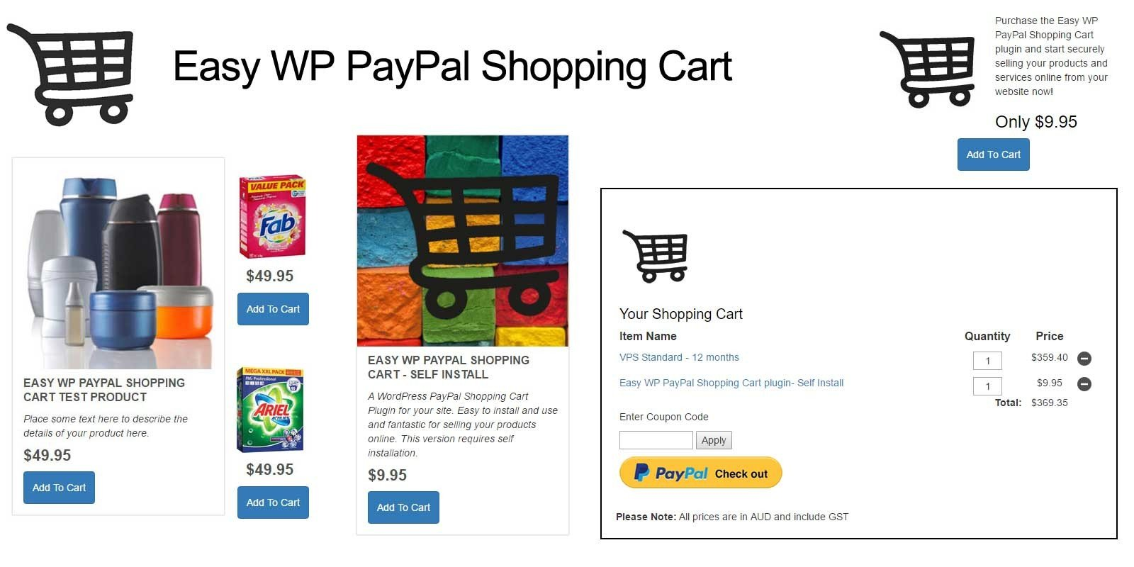 Easy WordPress PayPal Shopping Cart