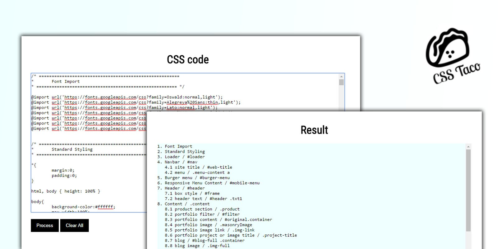 CSS Taco - CSS Table Content Creator