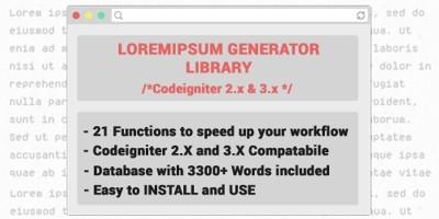 Loremipsum Generator Codeigniter Library