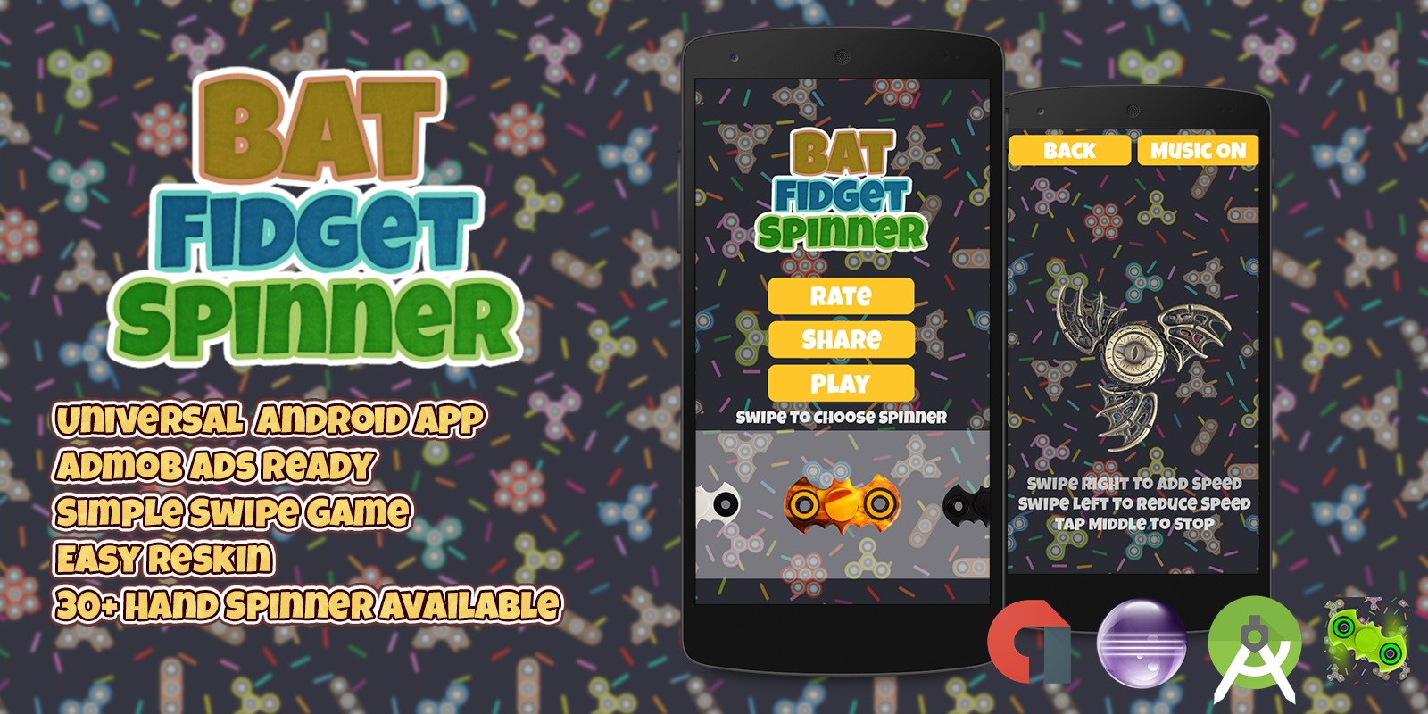 Bat Fidget Spinner - Android Game Template - Arcade Game Templates ...