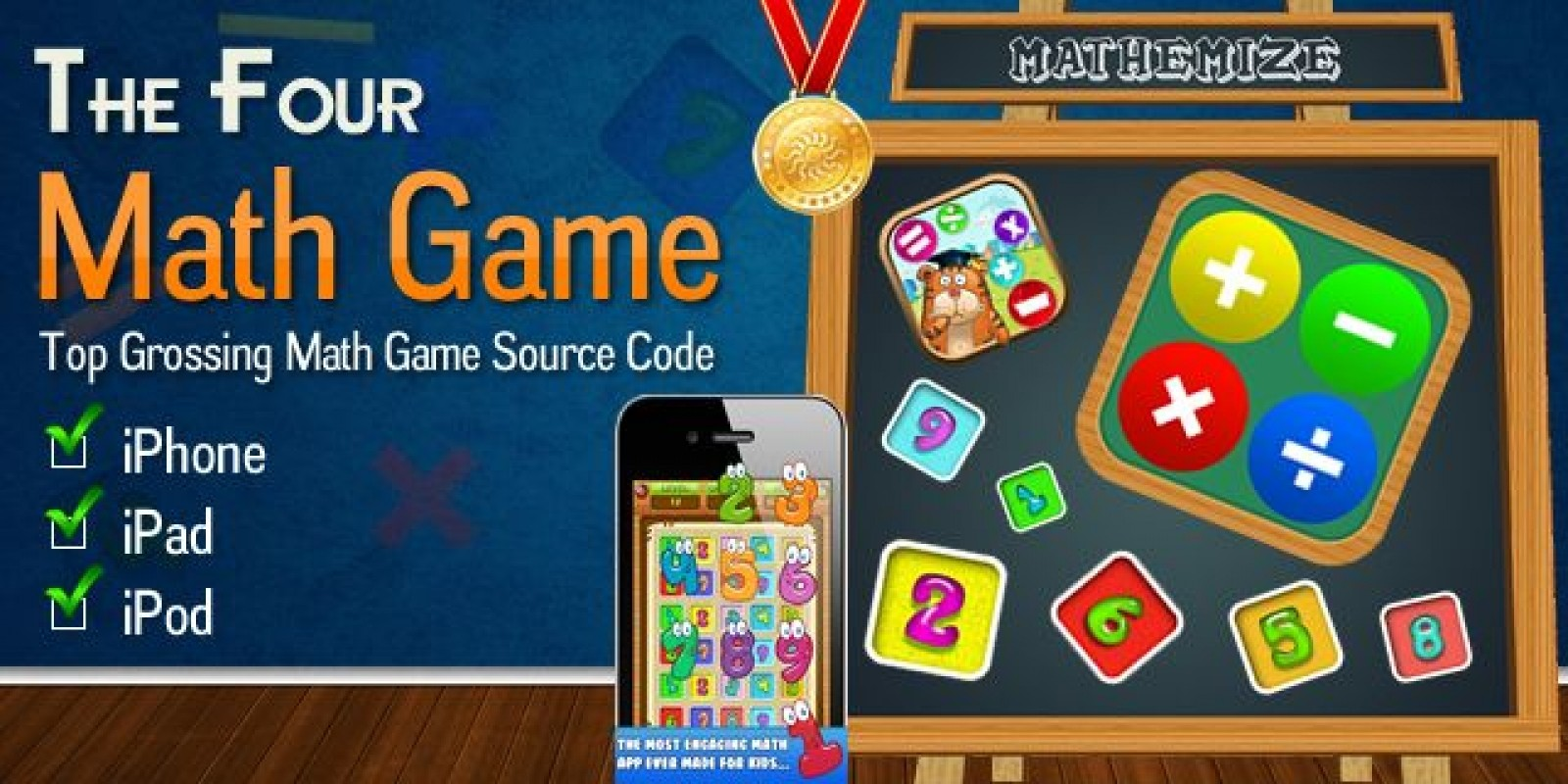 The Four Math Game iOS Source Code - Kids Game Templates Fo iOS ...