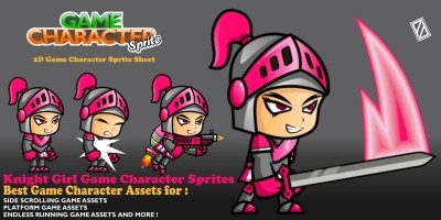 Girl Knight Game Character Sprite