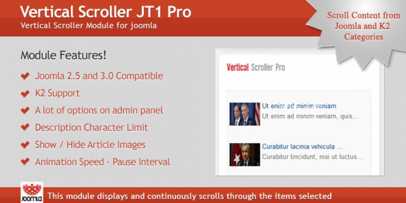 Vertical Scroller JT1 Pro - Joomla Module