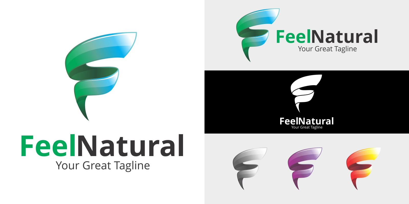 Letter F Logo - Feel Natural Logo Template