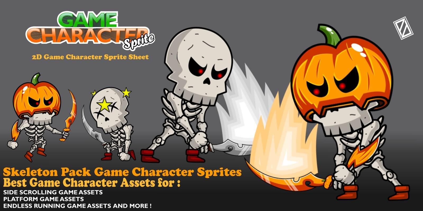 Skeleton Pack Game Character Sprite