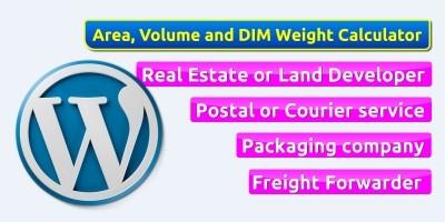WordPress Area Volume Weight Calculator