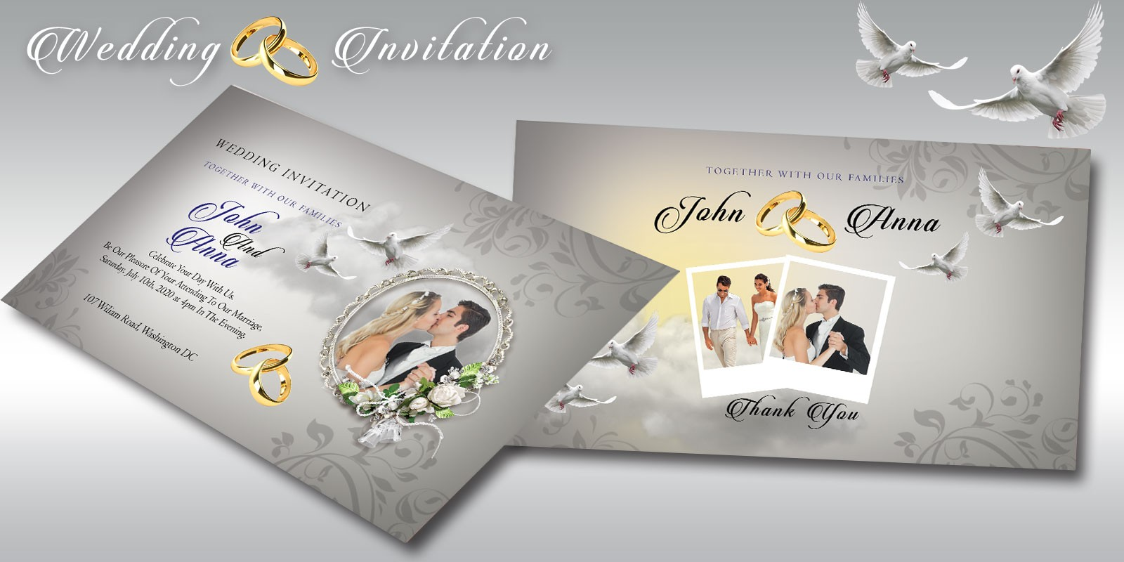 Wedding Invitation Flyer Template - Miscellaneous Print Templates ...