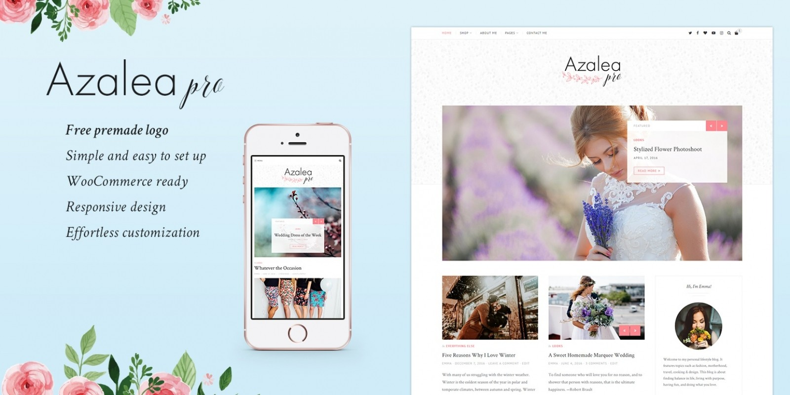 Azalea Pro - Elegant Blog and Shop WordPress Theme - WordPress Blog ...