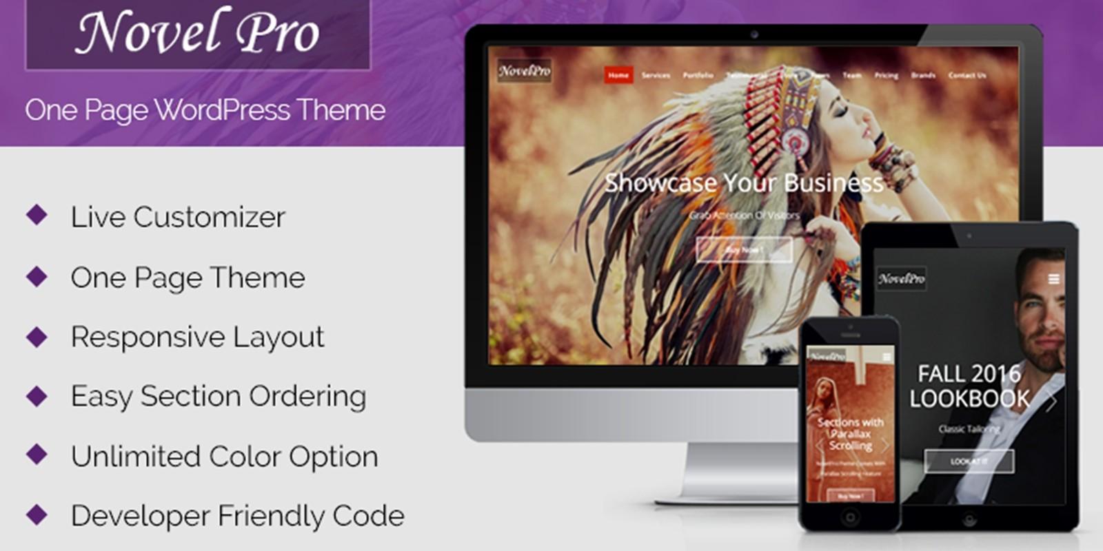 NovelPro - One Page WordPress Theme