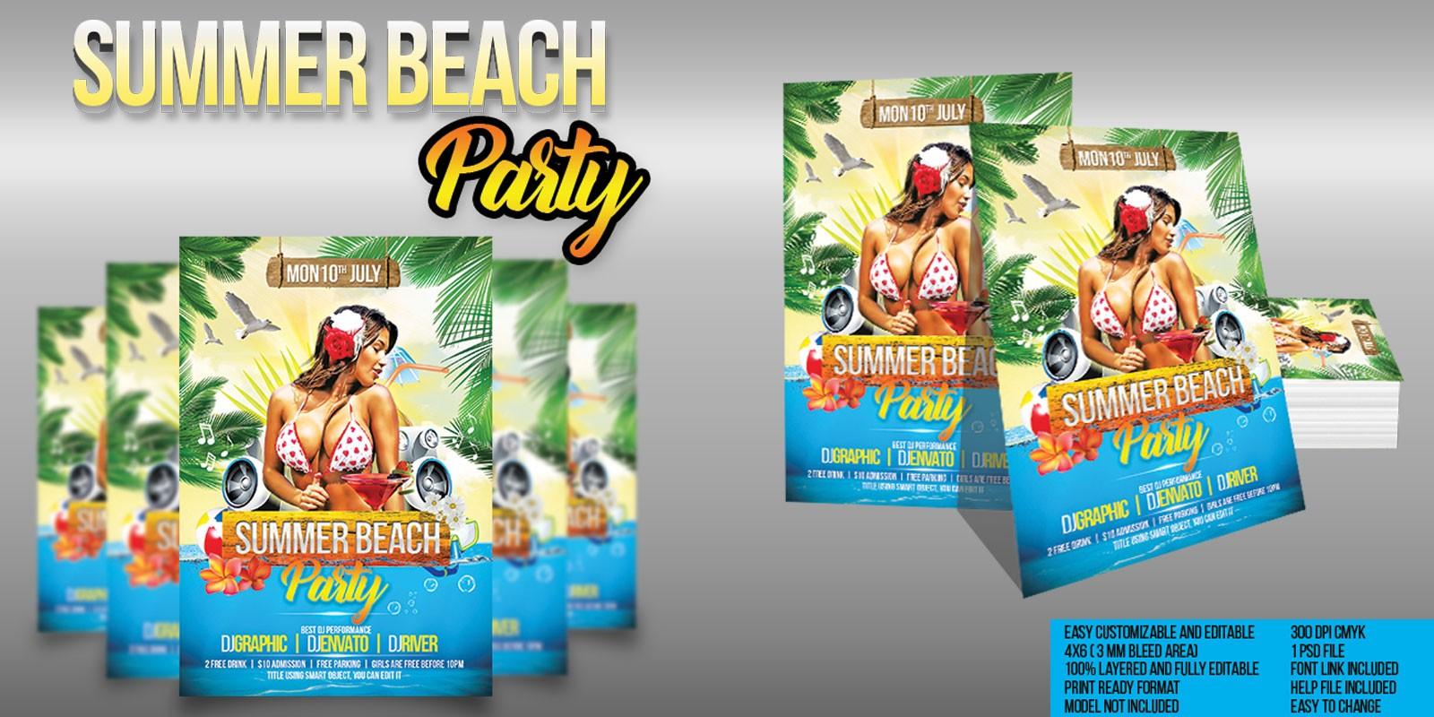 Summer Beach Party Flyer Template Codester