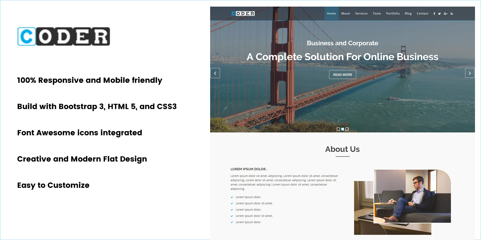 Coder onepage business html template business html website coder onepage business html template wajeb Image collections
