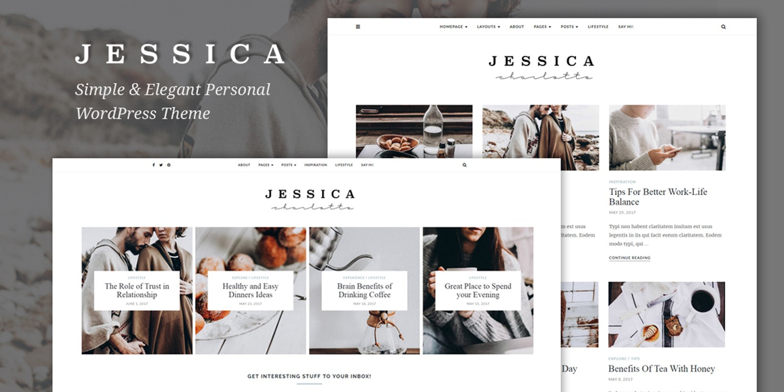 Jessica - Simple And Elegant WordPress Theme - WordPress Blog ...