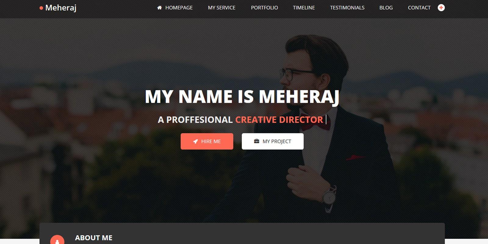 Meheraj  Personal Portfolio And Resume Template  Html Portfolio