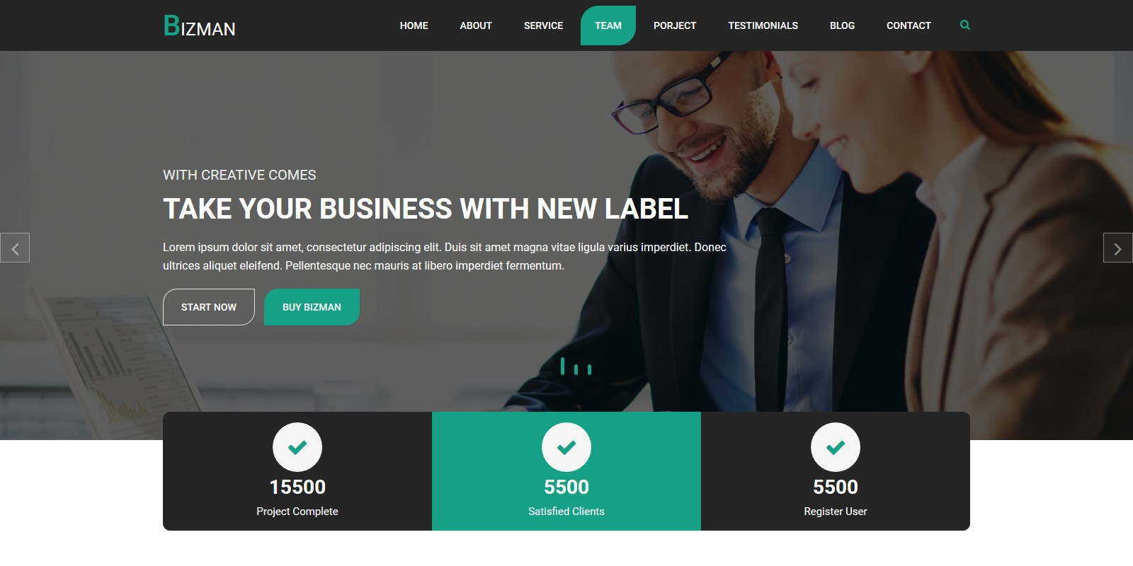 Bizman - Onepage Business Personal HTML Template - Business HTML ...