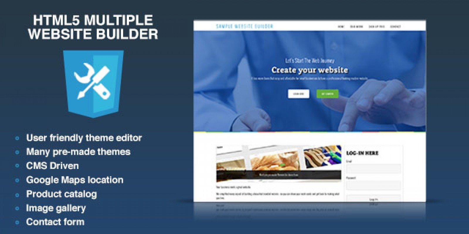 HTML5 Multiple Website Builder - PHP Script