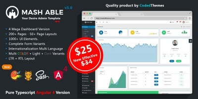 Mash Able Bootstrap 4 And Angular 4 Admin Template