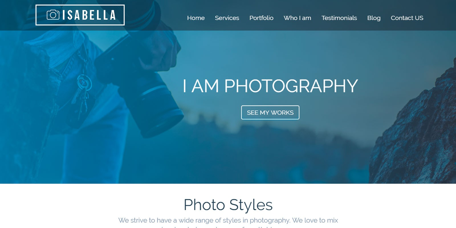 Isabella HTML Photography Website Template HTML Website