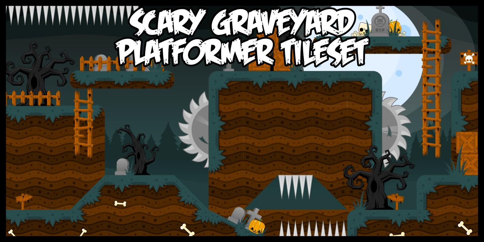 scary graveyard platformer tileset codester