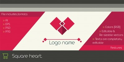Square Heart  Logo Template