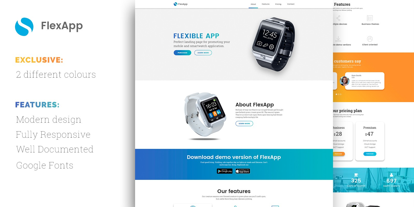 FlexApp HTML Landing Page Template HTML Technology Website - Website landing page templates