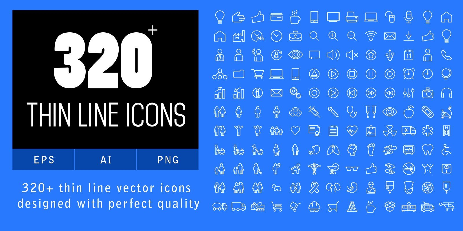 320 Thin Line Icons