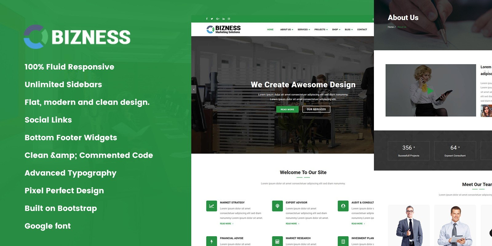 Bizness - Professional Business HTML Template