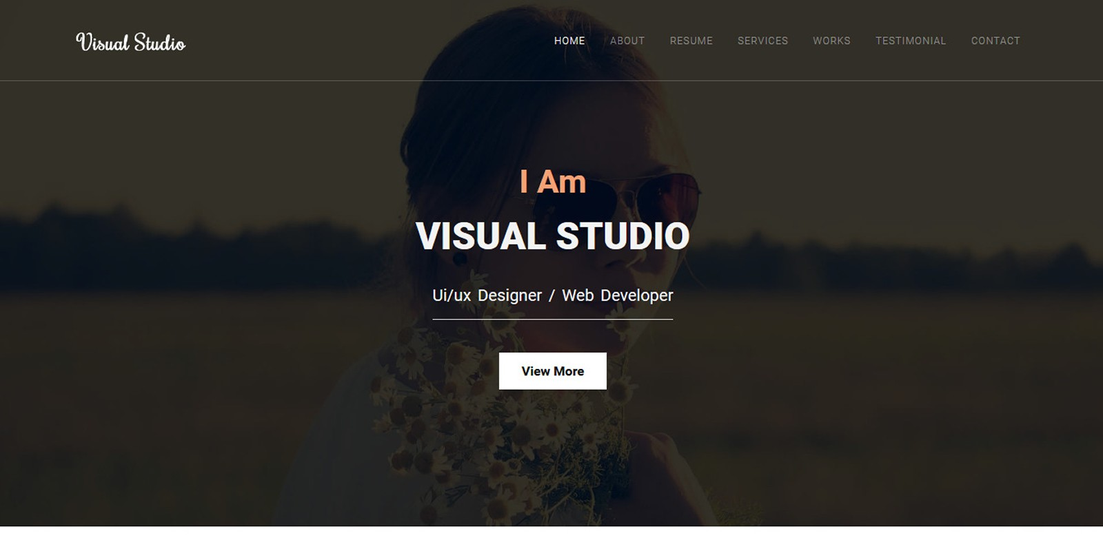 Visual Studio Creative Personal Portfolio Template