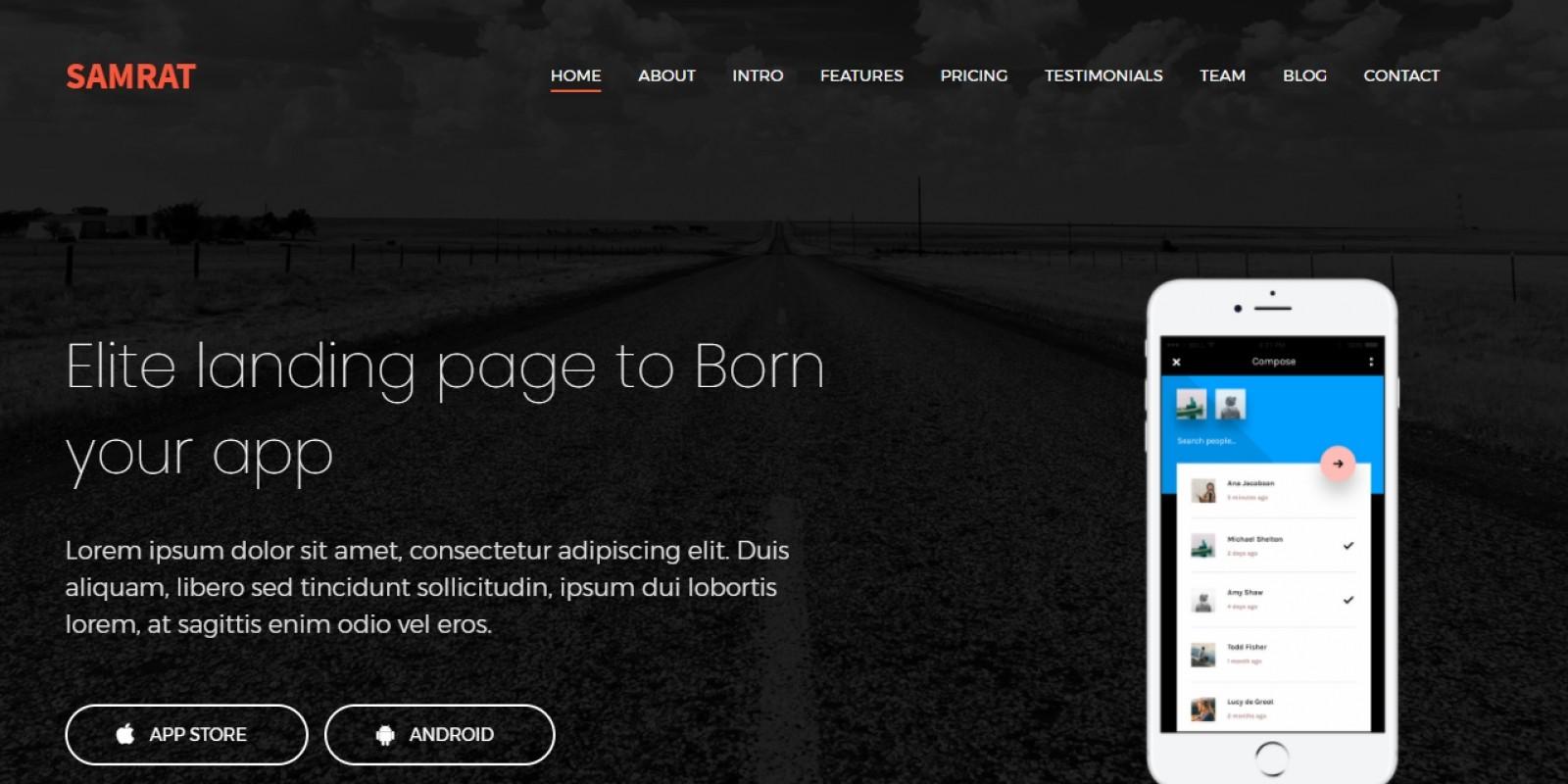 Samrat - Responsive Bootstrap 4 App Landing Page