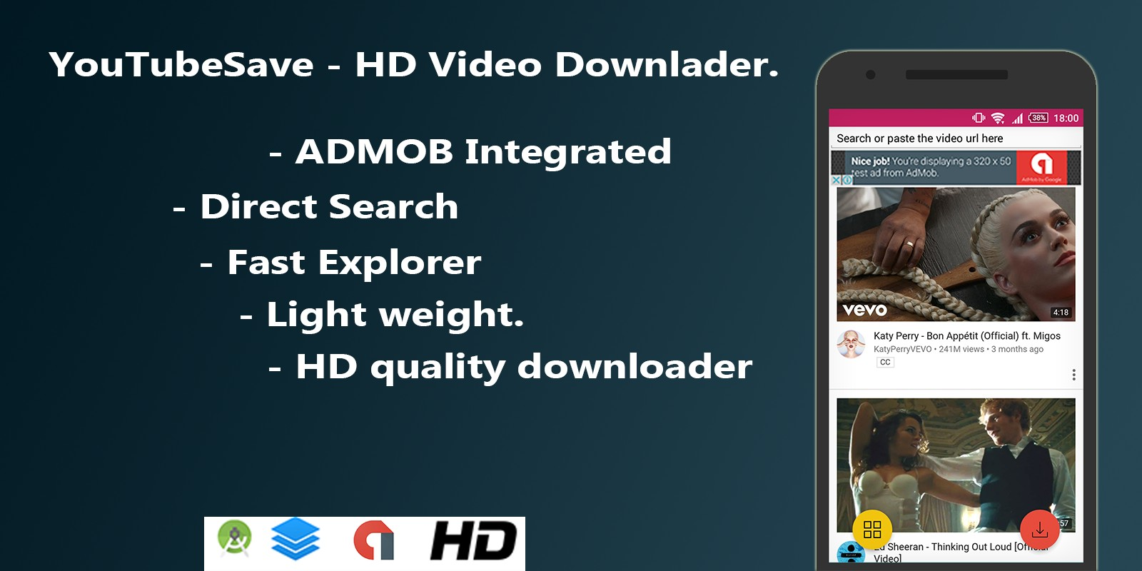 YoutubeSaver - HD Video downloader For Android