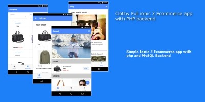Clothy Ionic 3 Ecommerce App With PHP backend