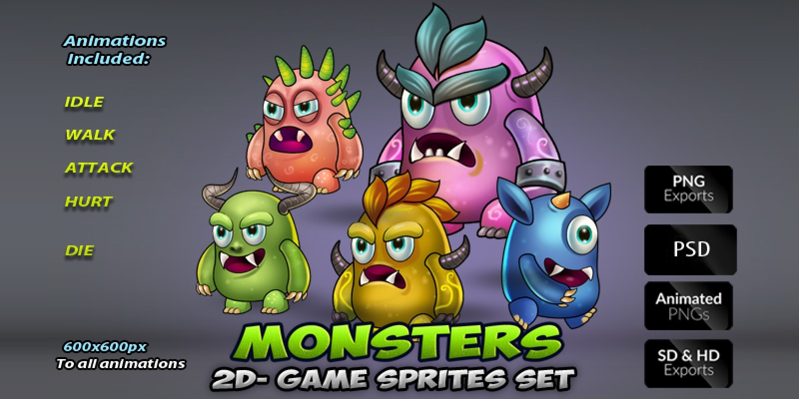 Monster Game Enemies Sprites Set
