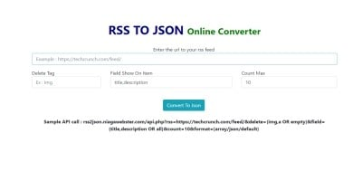 RSS To JSON Converter PHP