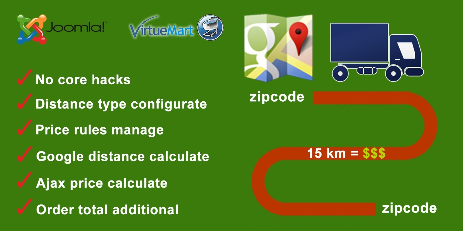 Distance Price Calculation for Virtuemart