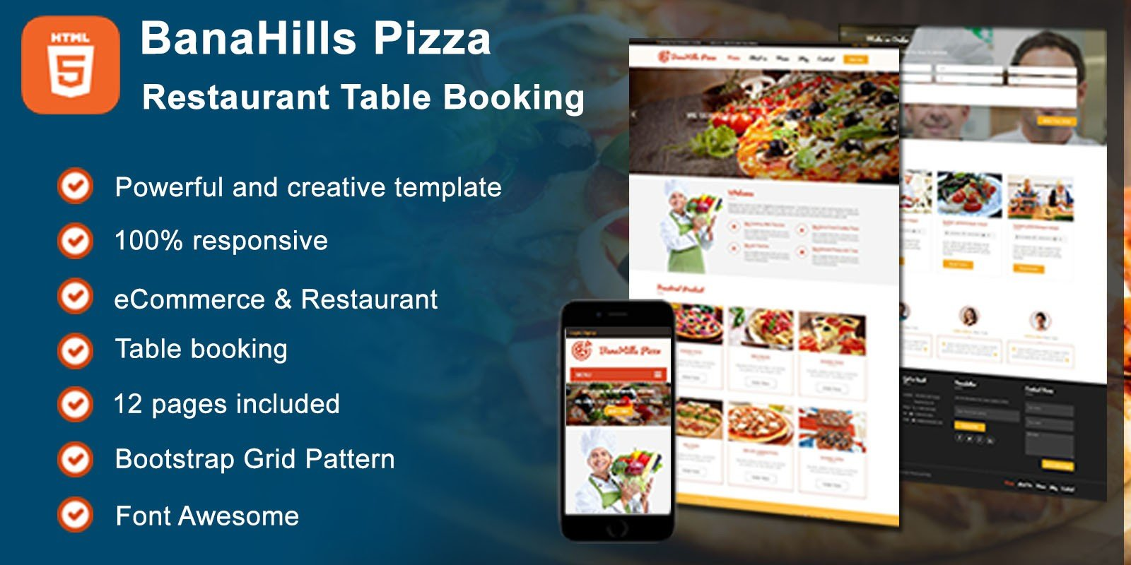 Pizza Restaurant Table Booking HTML Template HTML Restaurant - Restaurant table advertising