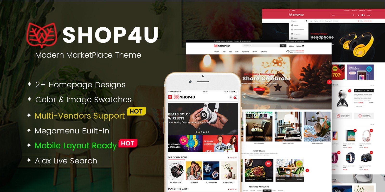 Shop4U - Modern MarketPlace WordPress Theme