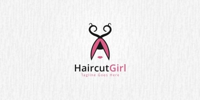 Haircut Girl - Logo Template