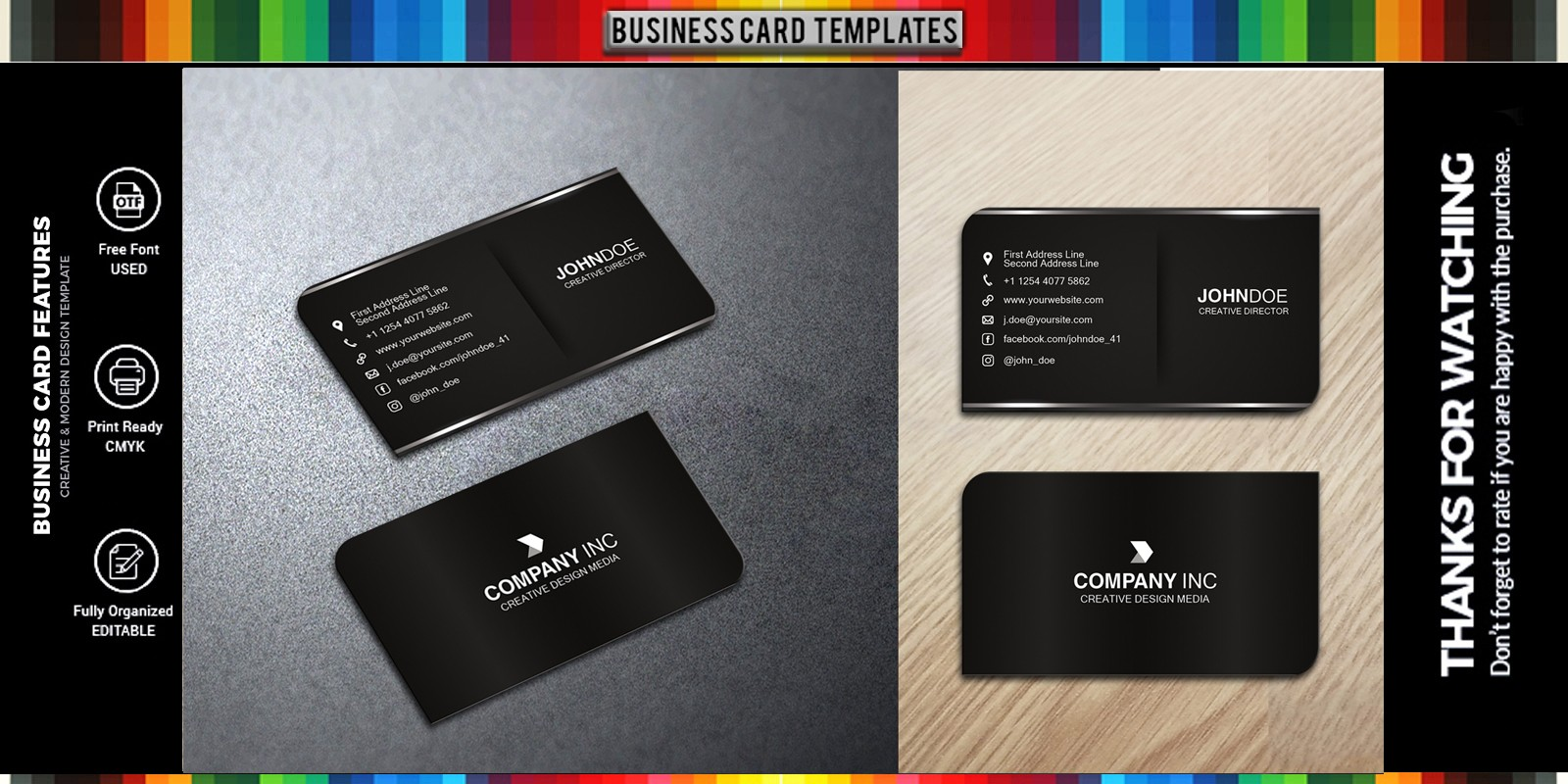 Professional Business Card Design Black Style