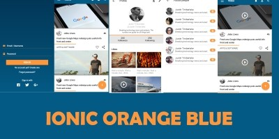 Ionic App Theme Blue Orange