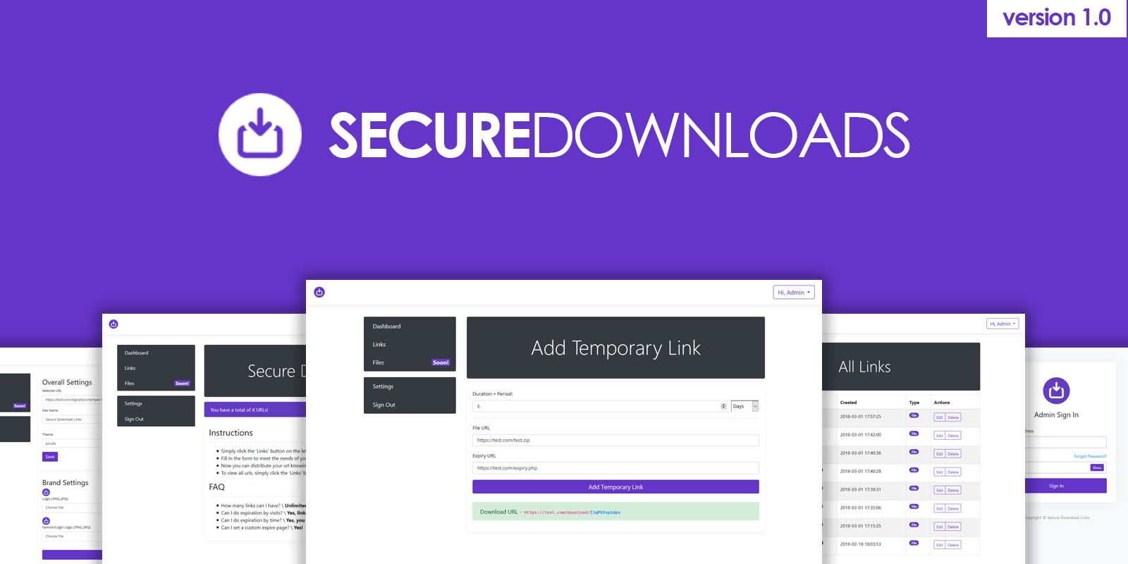 Secure Download Links PHP Script