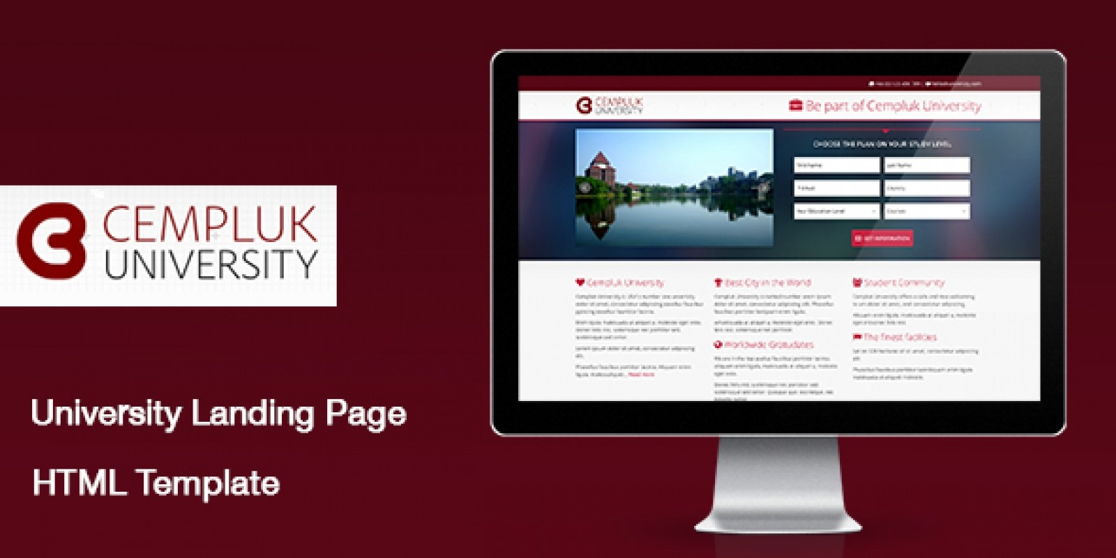 CEMPLUK University Landing Page HTML Template HTML Education - Landing page html template