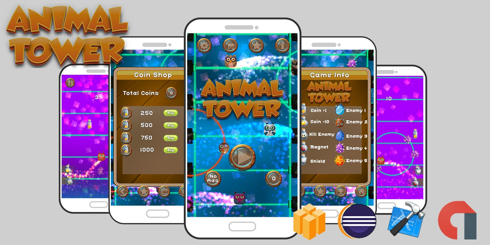Animal Tower Game Android iOS Buildbox with AdMob