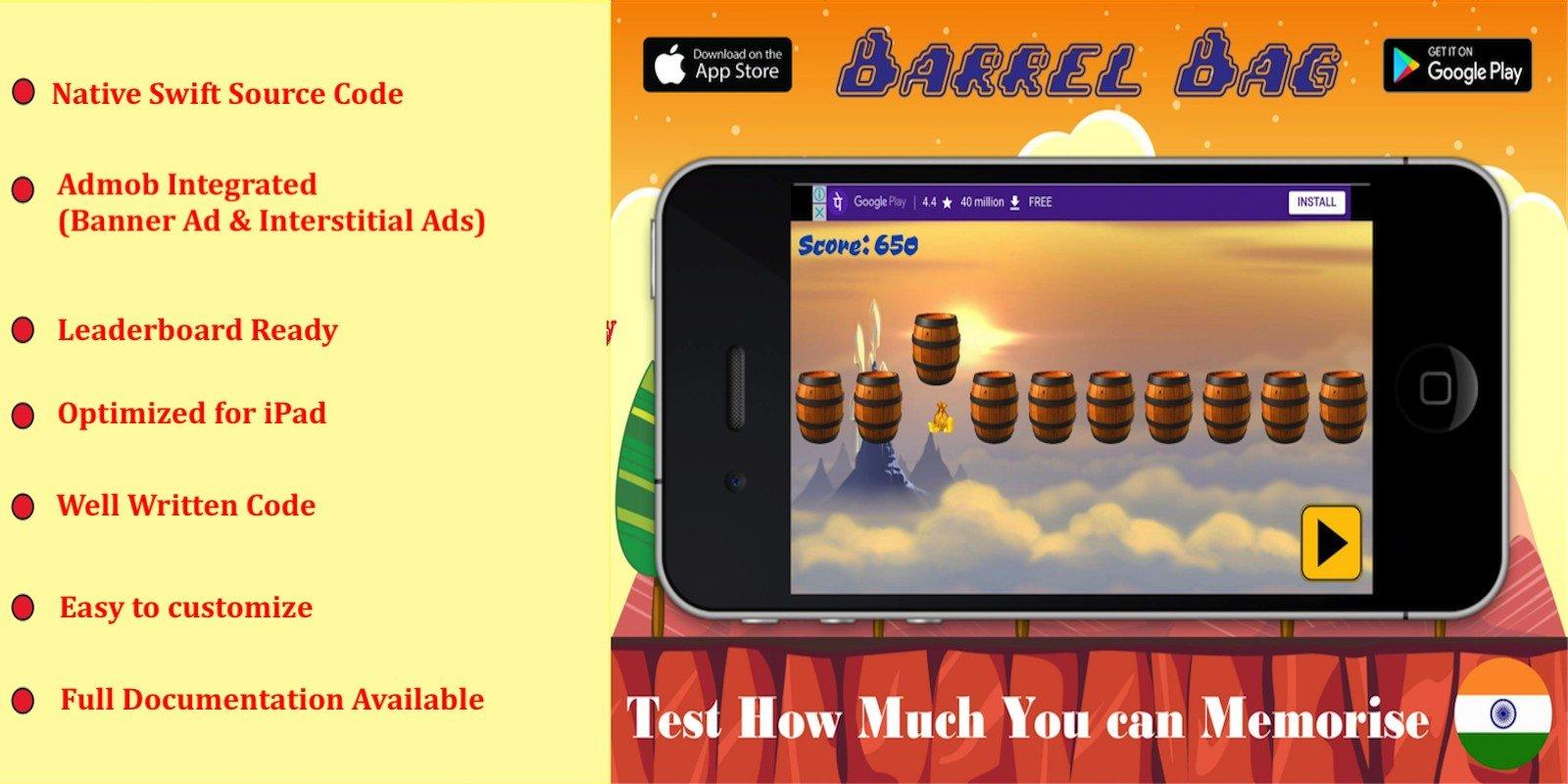 Barrel Bag Game - iOS Source Code